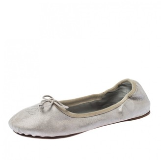 Chanel \N Grey Leather Ballet flats