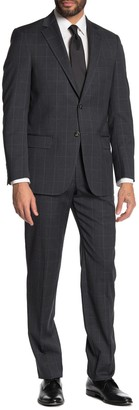 Hart Schaffner Marx Windowpane Print 2-Piece Suit