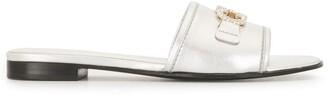 Salvatore Ferragamo Silver Gancini Detail Open Toe Sandals