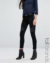 Vero Moda Tall Leather Look Trim Biker Jeans