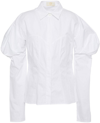 Sara Battaglia Gathered Cotton-poplin Shirt