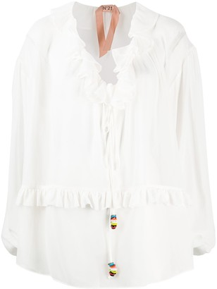 No.21 Frilled Collar Beaded Drawstring Blouse