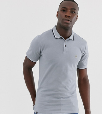 Le Breve Tall tipped slim fit polo shirt-Grey