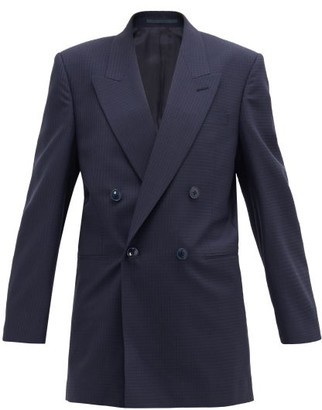 Martine Rose Bobby Checked Double-breasted Wool-crepe Jacket - Navy