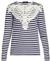 Burberry Lace-appliqué striped T-shirt