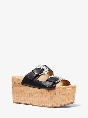 Michael Kors Frances Embellished Leather and Cork Wedge Sandal