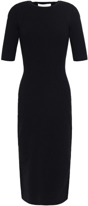Victoria Beckham Ajoure Pointelle-trimmed Textured Knitted Dress