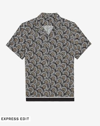 Express Slim Medallion Print Rayon Short Sleeve Shirt