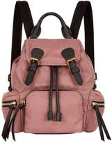 Burberry The Small Rucksack in Technical Nylon and Leather, Pink