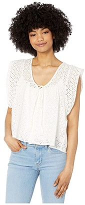 Bishop + Young Nadia Flutter Sleeve Top (White) Women's Clothing