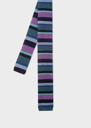 Men's Purple Stripe Knitted Silk Tie