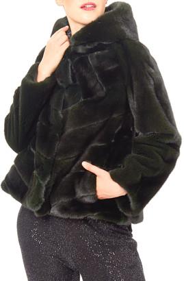 Zac Posen Mink Directional Hooded Jacket