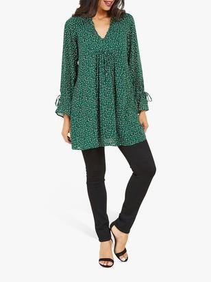 Yumi Ditsy Leopard Print Tunic Dress, Green