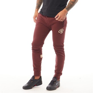 Crosshatch Mens Closeburn Zip Pocket Joggers Deep Red