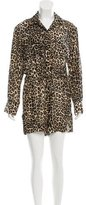 Tamara Mellon Leopard Patterned V-Neck Romper w/ Tags