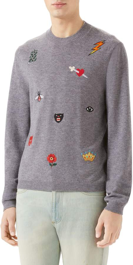 Gucci Embroidered Wool Crewneck Sweater