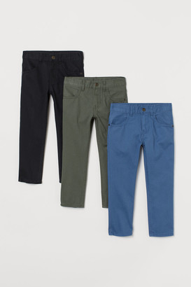 H&M 3-pack Slim Fit twill trousers