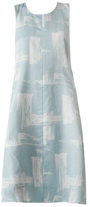 Eileen Fisher Brushstroke Silk & Cotton Midi Dress