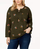 Style&Co. Style & Co Plus Size Embroidered Lace-Up Top, Created for Macy's
