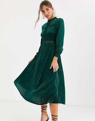 By Malina Paolina long sleeve velvet maxi dress in emerald green