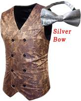 auguswu Double Breasted Slim Fit Paisley Vest Bow For Mens Tuxedos Waistcoat XL