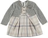 Mayoral Pleated Plaid Dress w/ Cardigan, Chromium, Size 3-24 Months