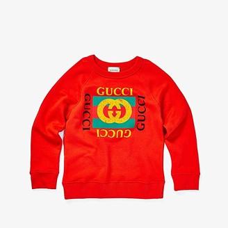 Gucci Kids Sweatshirt 483878X3G97 (Little Kids/Big Kids) (Vibrant Flame/Green) Kid's Sweatshirt