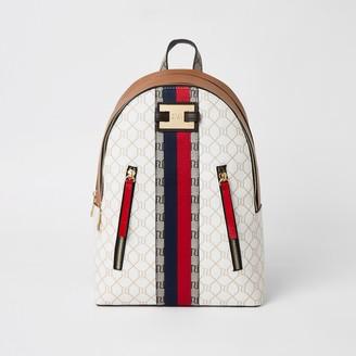 River Island Womens Beige RI monogram zip front backpack