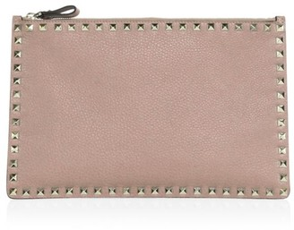 Valentino Rockstud Large Flat Leather Pouch