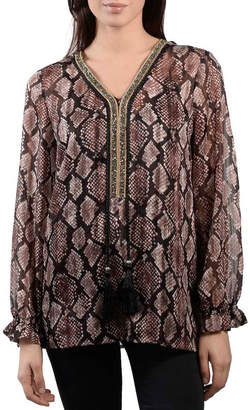 Anna Cai Printed Snakeskin Blouse with Beaded Neckline & Tassels