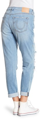 True Religion Cameron Slim Boyfriend Mesh Panel Jeans
