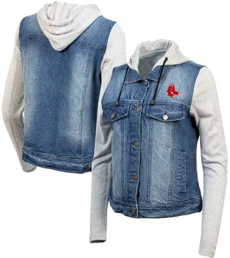 Antigua Women's Blue/Heathered Gray Boston Red Sox Swag Jean Bomber Jacket