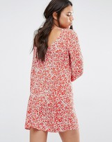 Billabong Swing Dress With Low Back And Long Sleeves In Micro Floral