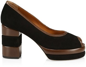 Tory Burch 70s Peep-Toe Leather & Suede Platform Pumps