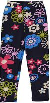 Navy & Pink Floral Leggings - Girls