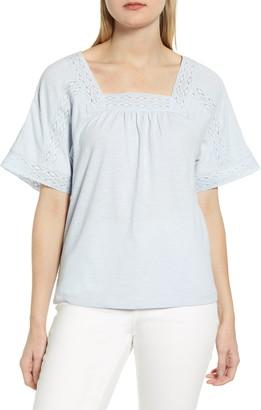 Caslon Lace Inset Boho T-Shirt