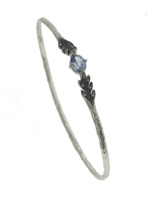 Cathy Waterman Blue Sapphire Blackened Leafside Platinum Bangle Bracelet