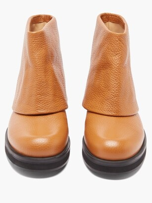 J.W.Anderson Fold-over Grained-leather Boots - Tan