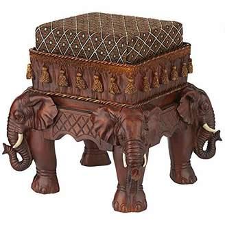 Toscano Design Maharajah Elephants Indian Decor Upholstered Footstool