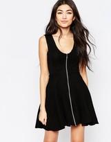 Liquorish Skater Dress With Zip Front