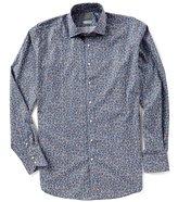 Thomas Dean Big & Tall Floral Poplin Long-Sleeve Woven Shirt
