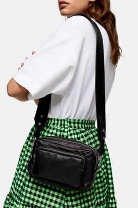 Topshop LEVI Black Leather Cross Body Bag
