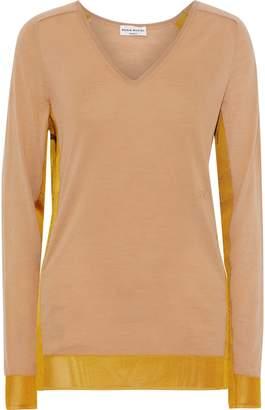 Sonia Rykiel Mesh-trimmed Wool-blend Sweater