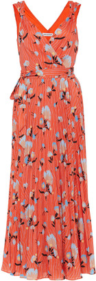 Self-Portrait Pleated Floral-Print Crepe Midi Dress
