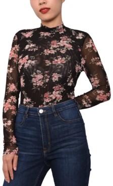 Derek Heart Juniors' Floral-Print Thong Bodysuit
