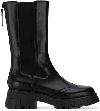 Ash Mid-Calf Length Leather Boots