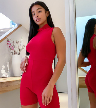 Club L London Petite slinky high neck cropped unitard in red