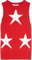 Max Mara Star-intarsia Cotton-blend Tank - Red