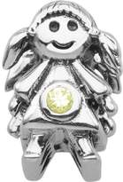 Persona Sterling Silver Green Austrian crystals August Girl Charm Bead Fits European Bracelets