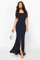 boohoo Bardot Split Front Maxi Dress